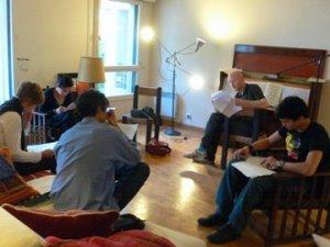 Tom Havelock, Christopher Simpson, Alex Sayhi and Nathalie Richard rehearsing (Photos Courtesy of Jane Burke)